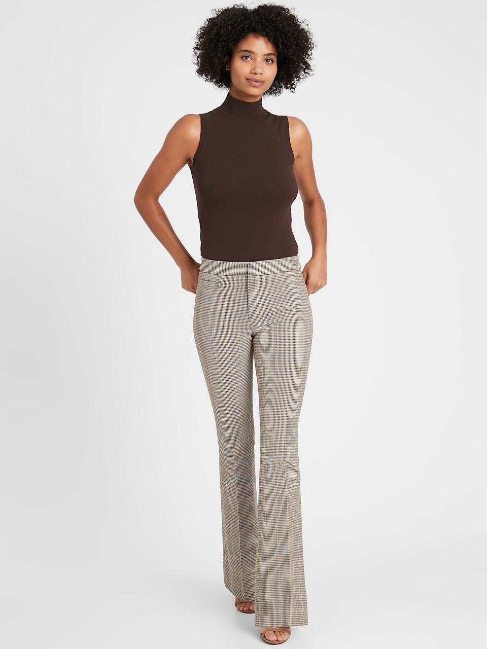 <p>Or try the <span>Banana Republic High-Rise Flare Sloan Pant</span> ($71, originally $99) in this plaid style with a turtleneck and leather blazer for a 70s cool <b>The Mod Squad</b> look!</p>