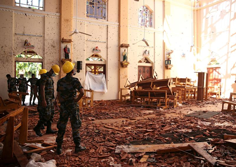 A view of the damage at St. Sebastian Catholic Church, after bomb blasts ripped through churches and luxury hotels on Easter, in Negombo, Sri Lanka April 22, 2019. (Photo: Athit Perawongmetha/Reuters)