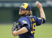Milwaukee Brewers' Corbin Burnes (39) pitches against the Detroit Tigers during the second inning of a baseball game Wednesday, Sept. 9, 2020, in Detroit. (AP Photo/Duane Burleson)