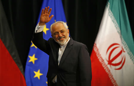 Iranian Foreign Minister Mohammad Javad Zarif waves after a plenary session at the United Nations building in Vienna, Austria July 14, 2015.  REUTERS/Leonhard Foeger
