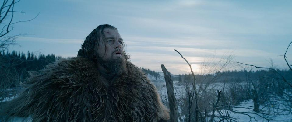 <p>A bear attack in the wild 1823 countryside should be enough to kill a man, but not when it's Leonardo DiCaprio. He tends to his own wounds and vengefully tracks his enemies across the wilderness—falling off a cliff and camping out in a horse carcass along the way.</p>