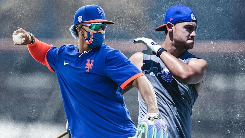 Francisco Lindor with mask and Michael Conforto TREATED ART