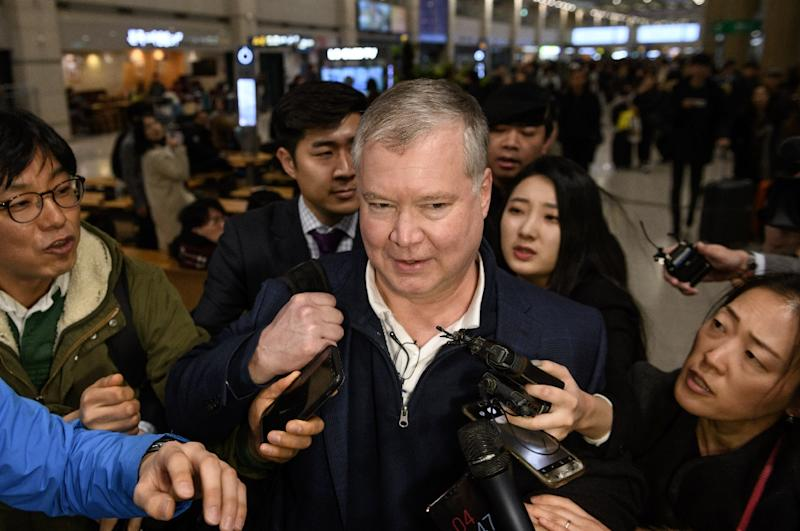 As Donald Trump was making his State of the Union speech, his special envoy on North Korea, Stephen Biegun, travelled to Pyongyang for negotiations (AFP Photo/Ed JONES)