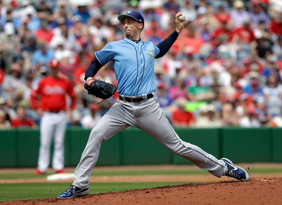 Tampa Bay Rays starting pitcher Blake Snell delivers to the Philadelphia Phillies during the second inning of a spring training baseball game Monday, March 11, 2019, in Clearwater, Fla. (AP Photo/Chris O'Meara)
