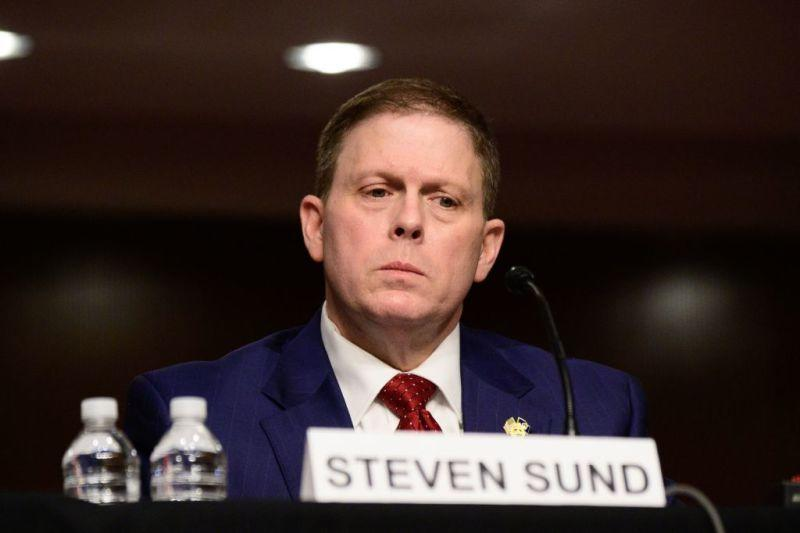 Former US Capitol Police Chief Steven Sund testifies in a Senate Homeland Security and Governmental Affairs and Senate Rules and Administration committees joint hearing on Capitol Hill, Washington, DC, February 23, 2021, to examine the January 6th attack on the Capitol.