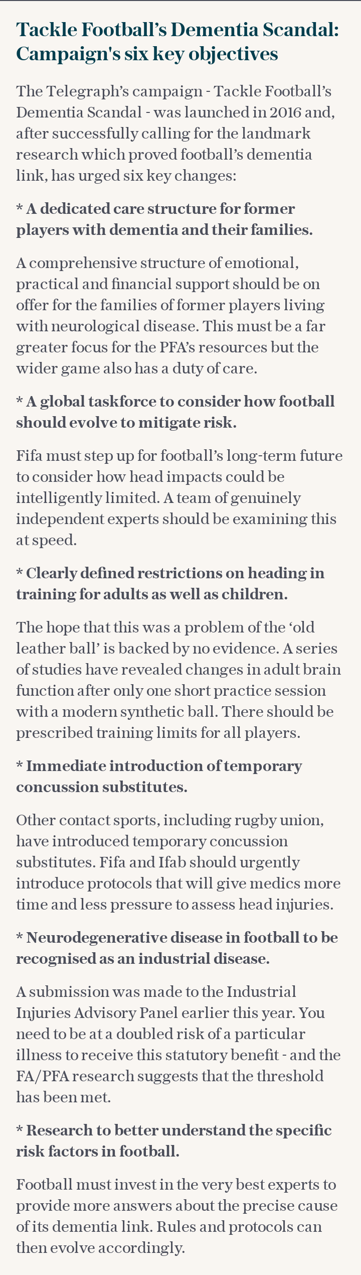 The Telegraph's campaign - Tackle Football's Dementia Scandal