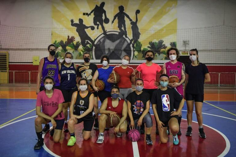 The Fulaninha team in Sao Paulo represents a trend in Brazil -- women make up nearly half the NBA fan base in the country, and often know more about the game than men (AFP/NELSON ALMEIDA)