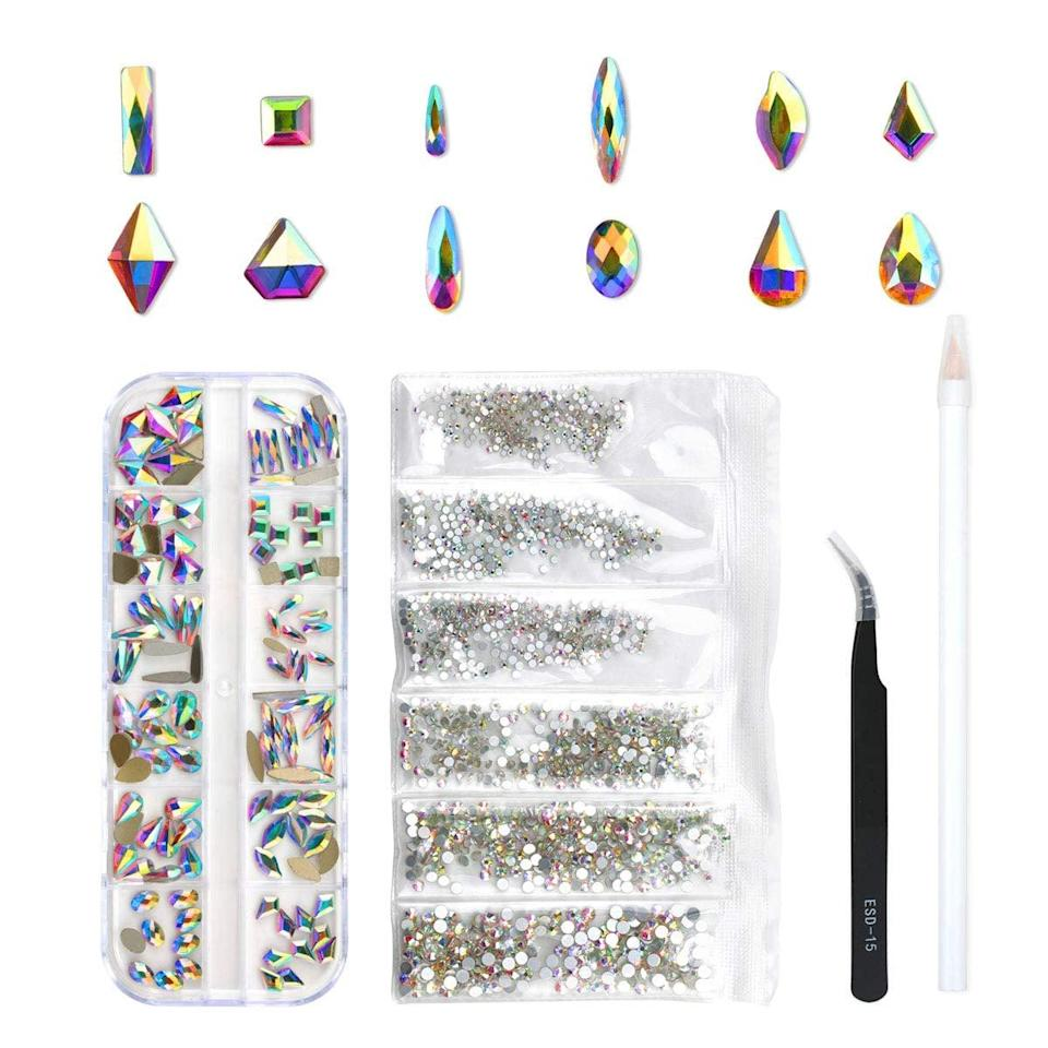 <p>Create a luxe-looking manicure with 3D rhinestones. The <span>Nibiru DU Multi-Shapes Glass Crystal Rhinestones</span> ($8) kit includes a sticking pen, tweezers, and a storage box.</p>