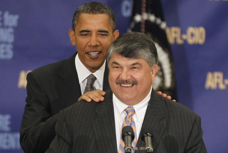 FILE - In this Aug. 4, 2010, file photo President Barack Obama is introduced by AFL-CIO President Richard Trumka before he spoke about jobs and the economy at the AFL-CIO Executive Council in Washington. AFL-CIO leaders hope to smooth tensions at their executive council's annual winter meeting that starts Monday, March 12, 2012, in Orlando, Fla. Unions may be united in working to re-elect Obama, but their leaders also are trying to repair bitter divisions over his rejection of an oil pipeline from Canada to Texas. (AP Photo/Charles Dharapak, File)