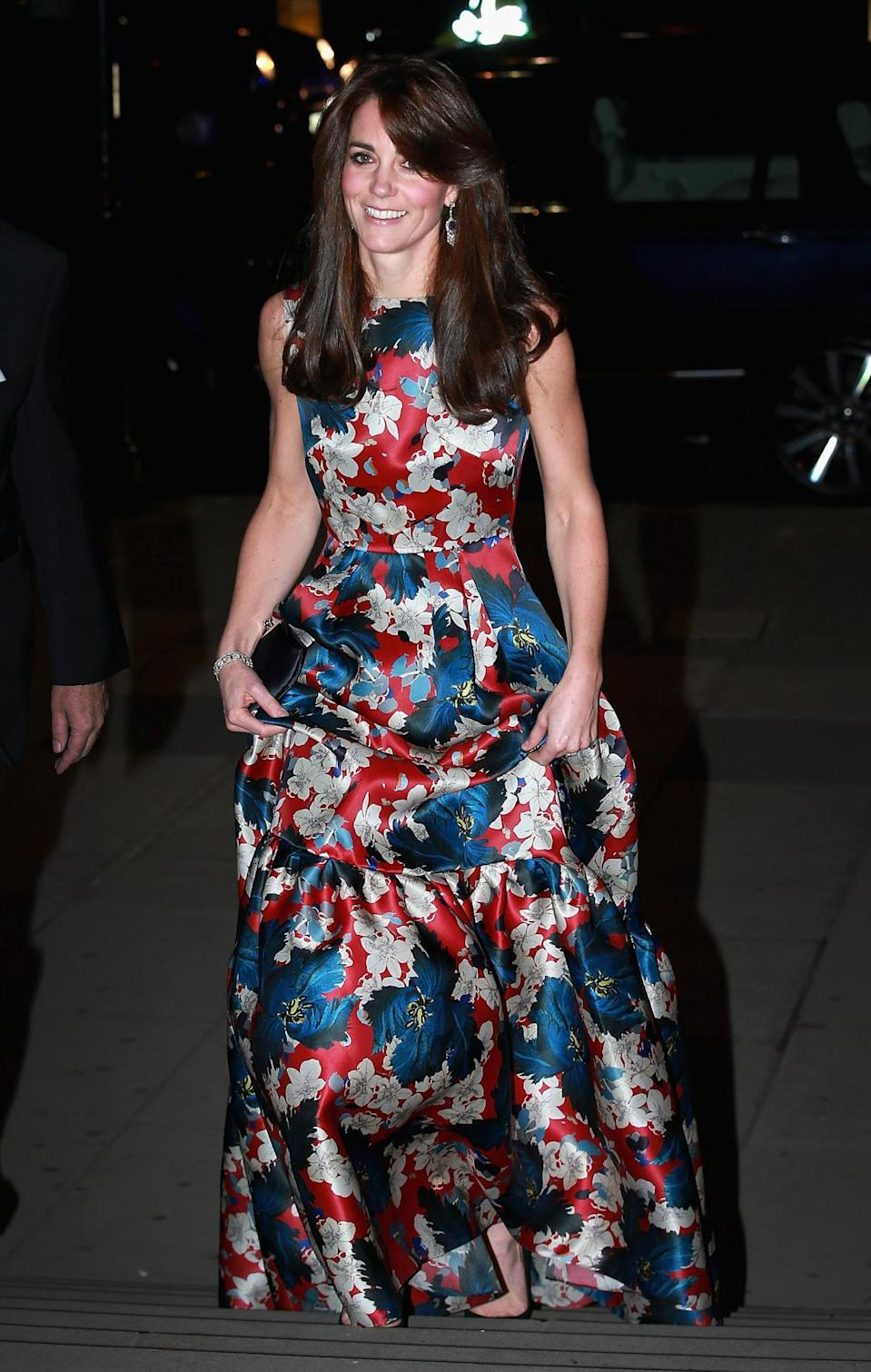 <p>The Duchess went for an unusually louder look for a dinner in London. Dressed in a floral silk gown by Erdem, she carried an Anya Hindmarch clutch and finished with suede Jimmy Choos. </p><p><i>[Photo: PA]</i></p>