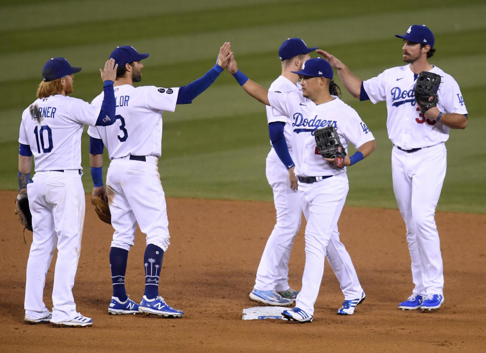 A familiar sight: The Dodgers celebrating a win. (Photo by Harry How/Getty Images)