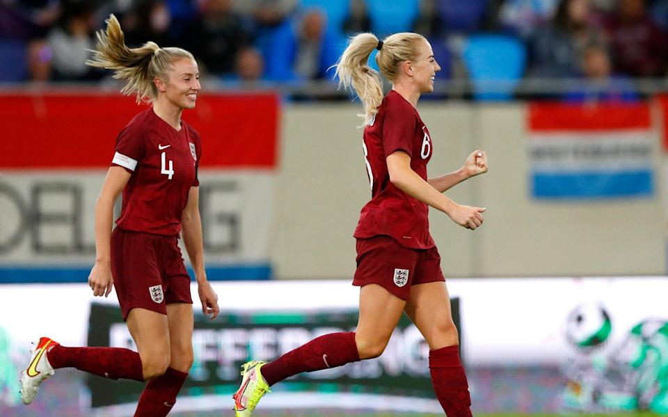 Alex Greenwood of England celebrates with Leah Williamson after scoring their side's fourth goal during the FIFA Women's World Cup 2023 Qualifier group D match between Luxembourg and England at the Luxembourg National Stadium on September 21, 2021 in Luxembourg, Luxembourg. - GETTY IMAGES