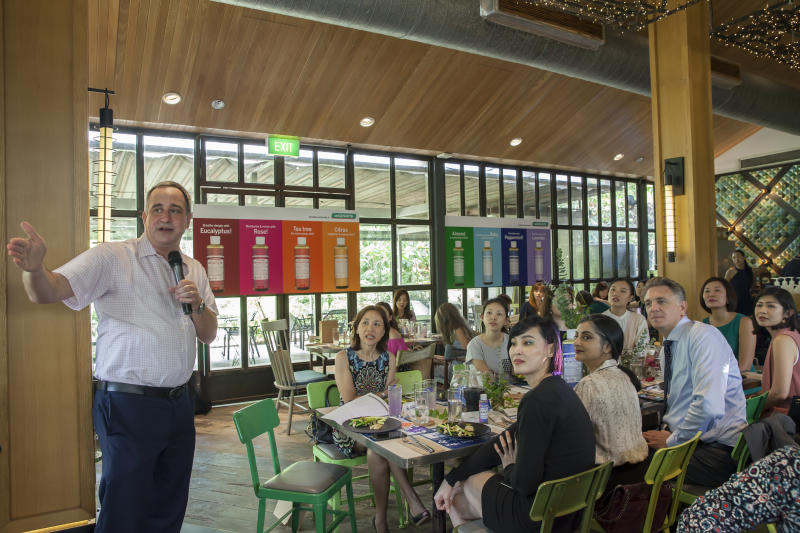 Michael Bronner, President of D. Bronner's addresses the crowd during the launch. (PHOTO: Watsons Singapore)