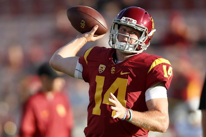 USC quarterback Sam Darnold warms up before a game against Arizona State in October 2016.