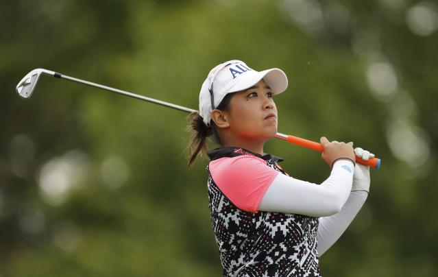 Jasmine Suwannapura drives on the fourth tee during the final round of the Dow Great Lakes Bay Invitational golf tournament, Saturday, July 20, 2019, in Midland, Mich. (AP Photo/Carlos Osorio)