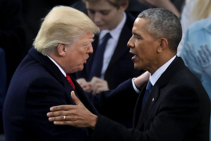 Barack Obama congratulates Donald Trump as the latter takes the oath of office in January: Getty/Chip Somodevilla