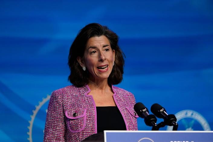 President-elect Joe Biden's nominee for secretary of Commerce, Rhode Island Gov. Gina Raimondo, speaks during an event at The Queen theater in Wilmington, Del., on Jan. 8, 2021.