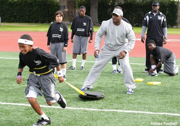 Reggie Bush visits an L.A. high school football practice