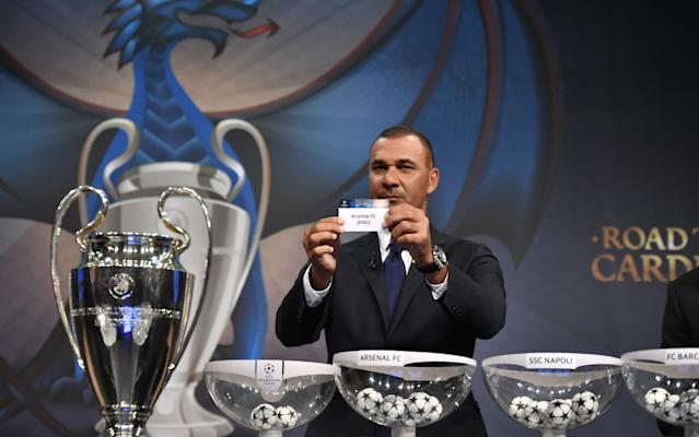 <span>Ruud Gullit in action during the draw for the quarter-finals of the Champions League </span> <span>Credit: AFP  </span>