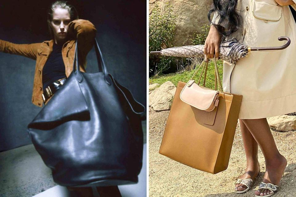 <p>Extra large leather totes are not a totally new trend, but boy, are they as timely as ever. Seen at Khaite (<em>left</em>) and Coach (<em>right</em>), these will be the go-to shape for grocery runs and quick weekend getaways and will carry you well into the following season.</p>