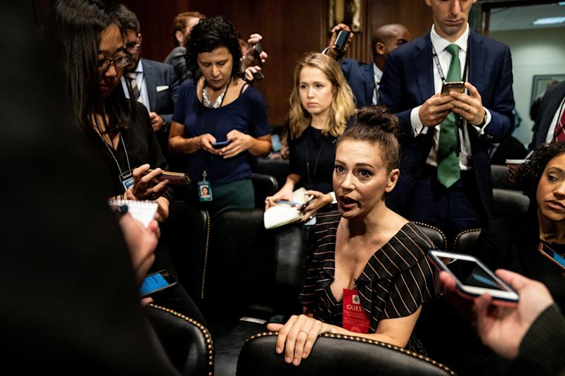 Actress Alyssa Milano is seen ahead of a Senate Judiciary Committee hearing of Dr. Christine Blasey Ford at Capitol Hill in Washington on Sept. 27, 2018. (POOL New / Reuters)