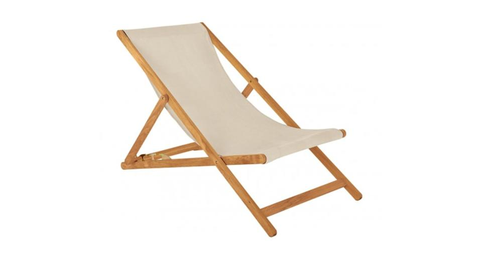 Maui Solid oak deckchair with mushroom cotton sling