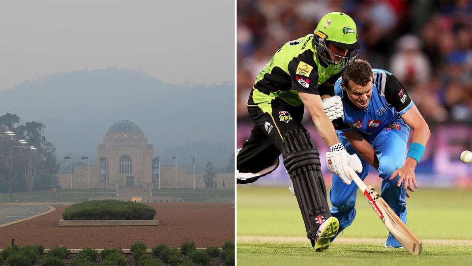 The BBL match between the Sydney Thunder and Adelaide Strikers in Canberra may not go ahead due to the thick smoke haze. (Getty Images)