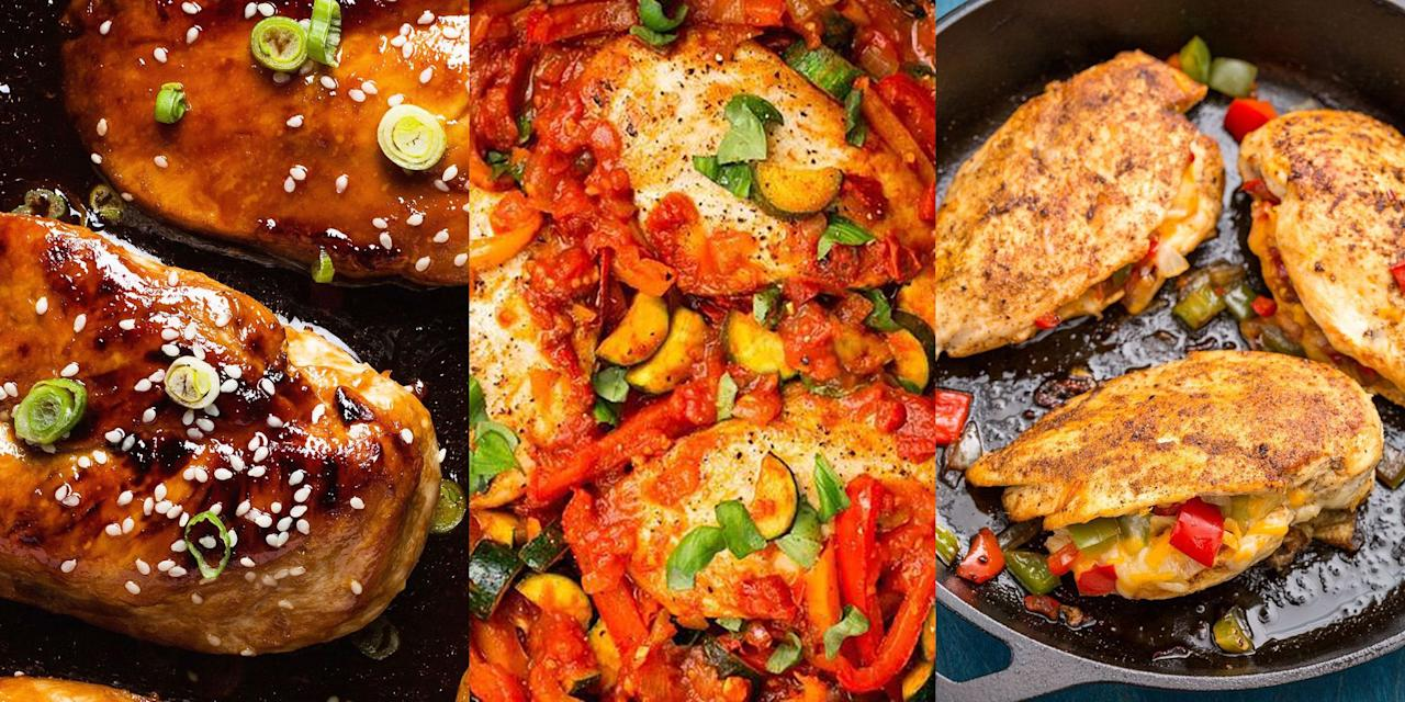 "<p>Chicken breast is definitely one of the most popular pieces of meat out there, but it's easy to get wrong, and it's easy to be bland. And sometimes it can be hard thinking of new ways to use up your chicken breast leaving you stuck in a rut. No probs, we're here to pull you out of that chicken rut by putting together a selection of our favourite chicken breast recipes from <a href=""https://www.delish.com/uk/cooking/recipes/a29756469/honey-garlic-chicken-recipe/"" target=""_blank"">Honey Garlic Chicken</a> to <a href=""https://www.delish.com/uk/cooking/recipes/a29260396/chicken-caesar-pasta-salad-recipe/"" target=""_blank"">Chicken Caesar Pasta Salad</a>. Delicious, healthy and super easy. </p>"