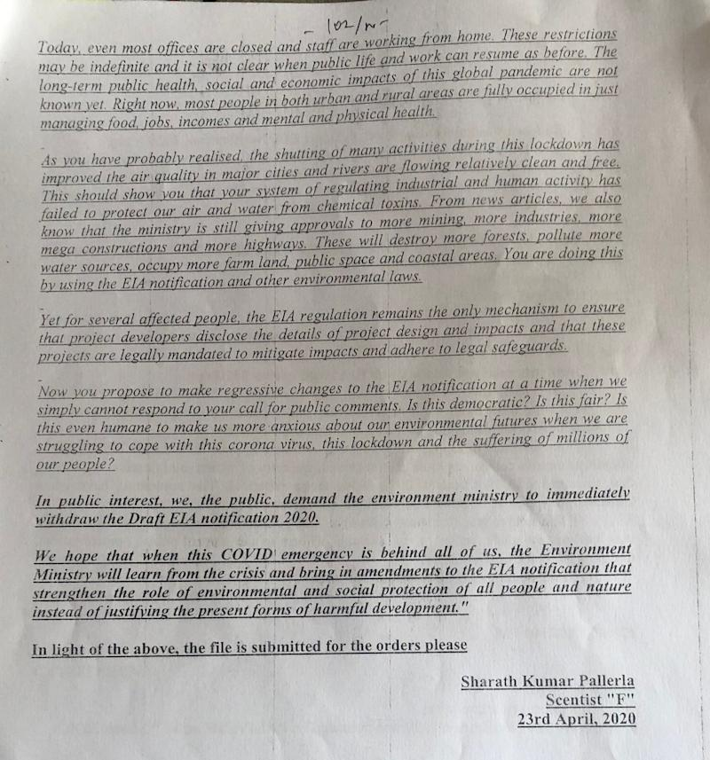 Full text of the LetIndiaBreathe campaign email is quoted by environment ministry official Sharath Kumar Pallerla in his internal note dated 23 April 2020 but without mentioning the campaign's name. Second page of the internal note accessed under the Right to Information. (Photo: HuffPost India )