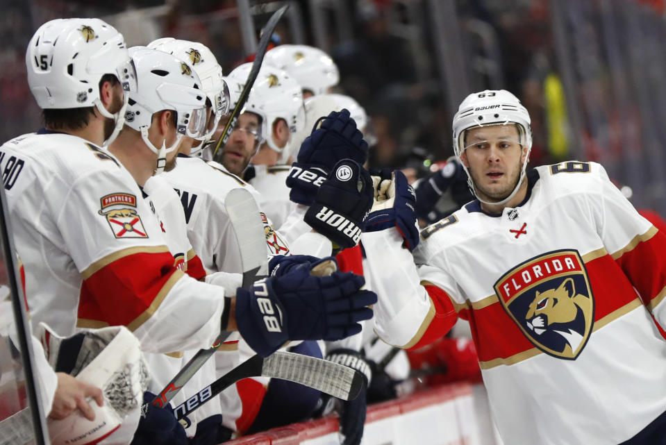 Florida Panthers right wing Evgenii Dadonov celebrates his goal against the Detroit Red Wings during the first period of an NHL hockey game Saturday, Jan. 18, 2020, in Detroit. (AP Photo/Paul Sancya)