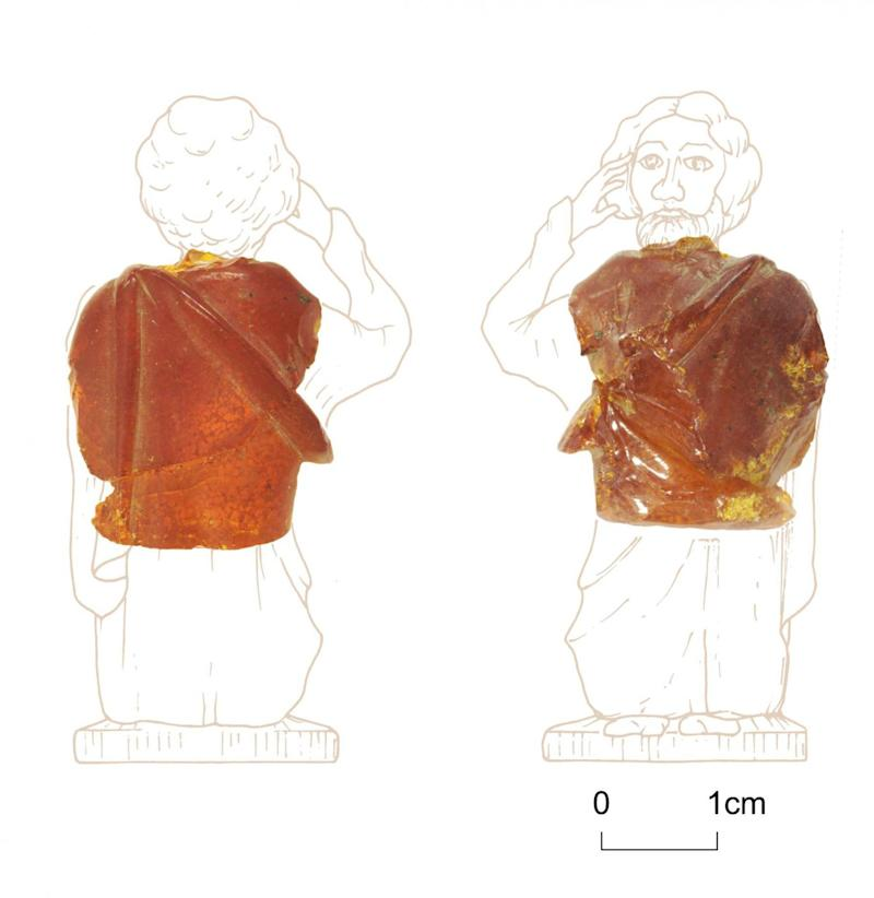 Part of the figure of a toga-clad actor carved from a block of amber, which was recently found at Scotch Corner (Northern Archaeological Associates)