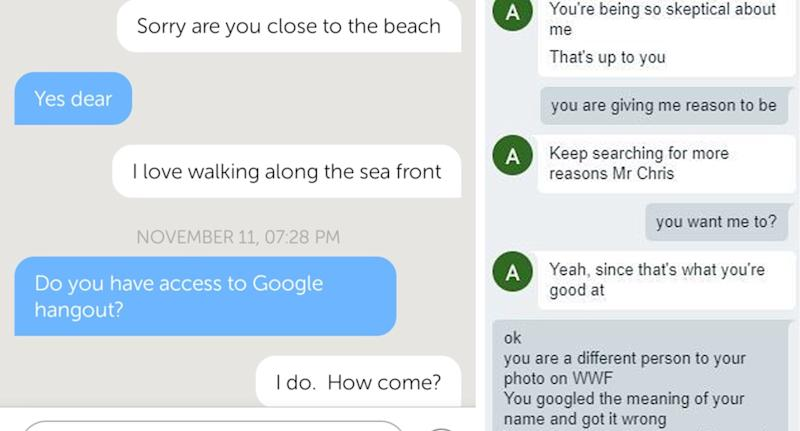 Scammers will quickly try and move the conversation off platform and onto Google Hangouts. Source: Craig Buck