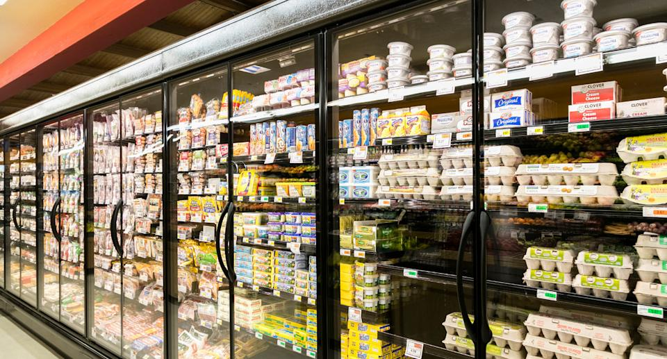 Supermarket shelves with dairy goods and eggs. Source: Getty Images