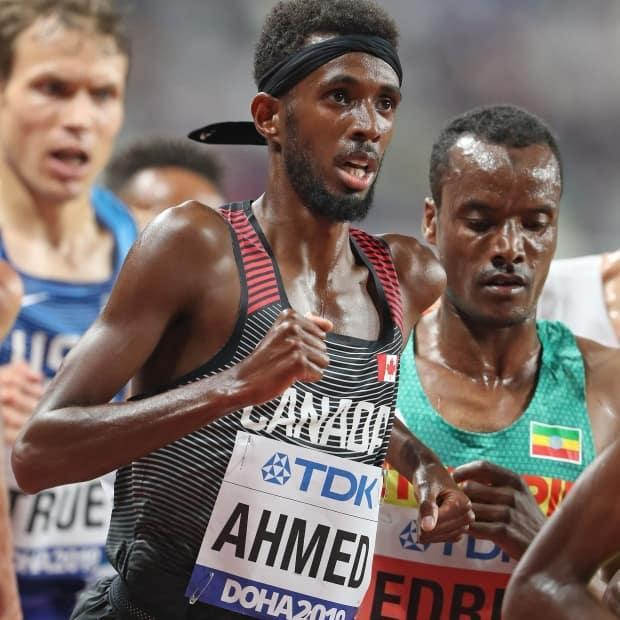 Canada's Moh Ahmed finished behind Ethiopia's Hagos Gebrhiwet and Norway's Jakob Ingebrigsten in Thursday's 5,000-metre race at the Diamond League meet in Florence, Italy. (Twitter/@AthleticsCanada - image credit)