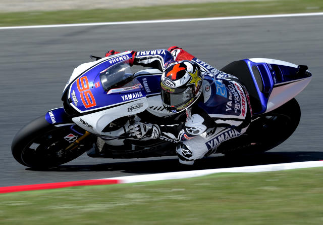 Yamaha Factory Racing's Spanish Jorge Lorenzo rides at the Catalunya racetrack in Montmelo, near Barcelona, on June 1, 2012, during the MotoGP first training session of the Catalunya Moto GP Grand Prix. AFP PHOTO / JOSEP LAGOJOSEP LAGO/AFP/GettyImages