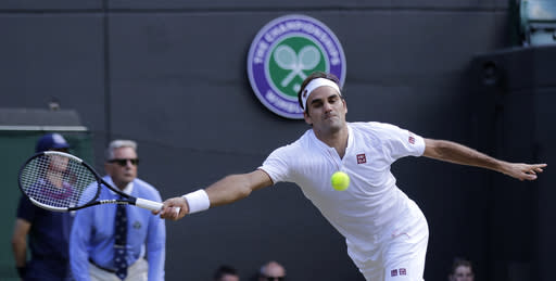 Roger Federer was up 2-0 heading into the third set against Kevin Anderson, but Anderson won three straight in the Wimbledon quarterfinals. (AP Photo/Ben Curtis)