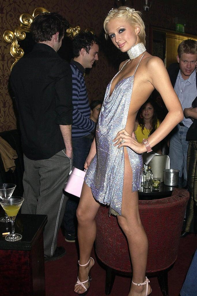 UNITED STATES – MAY 03: Paris Hilton, New York Socialite Paris Hilton Celebrated Her New Movie And Her 21st Birthday With Dinner At Drones Then Party At The Stork Rooms In Wallow St, Where She Managed To Dance The Night Away Even After Tripping Over Her 6 Inch Heels, She Then Consoled Herself By Changing In Another Dress This One Was More Comfortable. (Photo by Dave Benett/Getty Images)