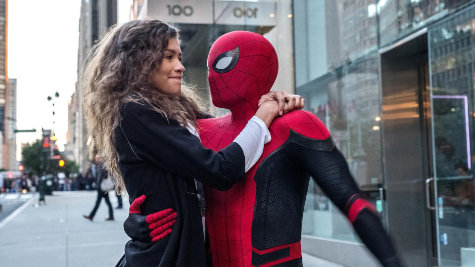 Zendaya and Tom Holland in 'Spider-Man: Far From Home'. (Credit: Marvel/Sony)