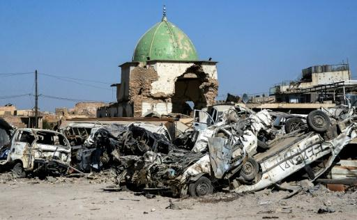 Once a famous landmark, Mosul's Great Mosque of Al-Nuri has been reduced to a pile of rubble