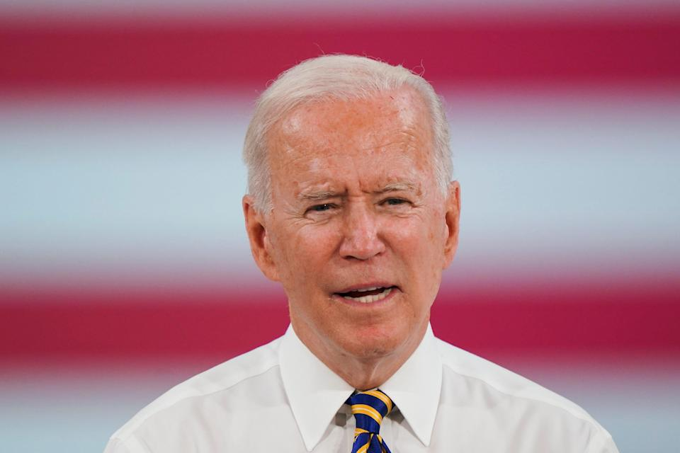 President Joe Biden speaks during a visit to the Lehigh Valley operations facility for Mack Trucks in Macungie, Pa., on July 28, 2021.