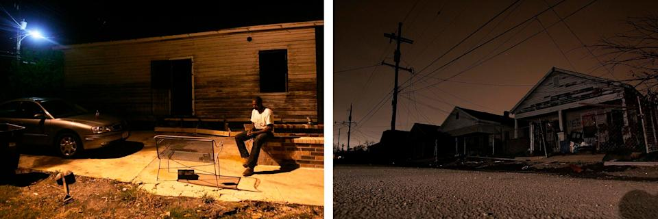 Left: Jermaine Brisco outside his Lower 9th Ward home in New Orleans, which was badly damaged by Hurricane Katrina in August 2005. In May 2006, the water in the area was still not safe to drink and electricity was mostly not functioning. Right: A row of hurricane-damaged homes with no power in the Lower 9th Ward on Feb. 20, 2006. Credit: Getty Images (Photo: )