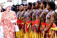 <p>The Queen is welcomed by traditional Mozambican dancers at the Polana Hotel, Maputo, Mozambique, during a state visit to Africa. (PA) </p>