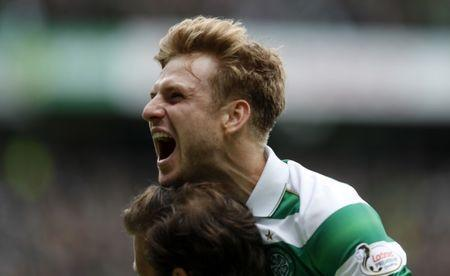 Britain Football Soccer - Celtic v Heart of Midlothian - Scottish Premiership - Celtic Park - 21/5/17 Celtic's Stuart Armstrong celebrates scoring their second goal Reuters / Russell Cheyne