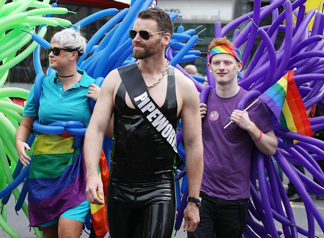 <p>Thousands of people take part in the annual Belfast Pride event in Belfast city center celebrating Northern Ireland's LGBT community on Aug. 5, 2017. (Photo: Press Eye Ltd/REX/Shutterstock) </p>