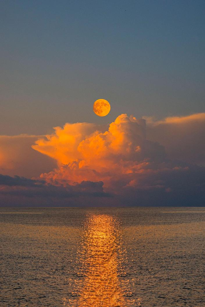 a photo-illustration of the moon acting as sunlight over the ocean