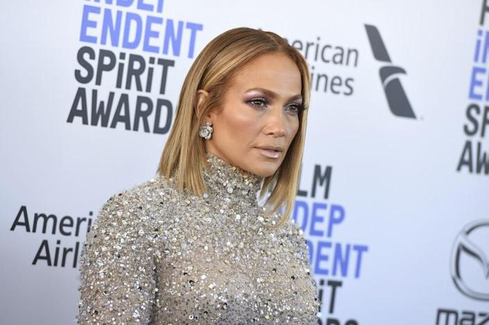 Jennifer Lopez in a beaded silver dress