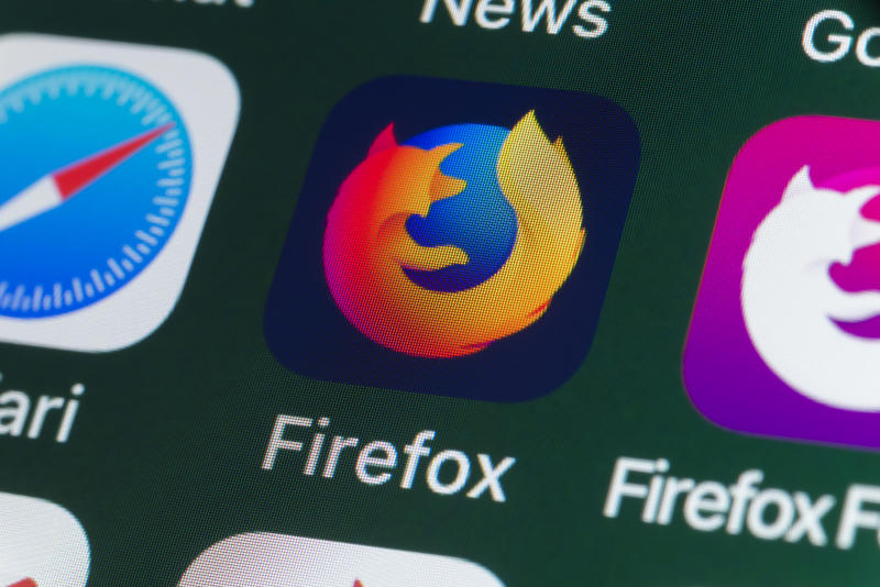 London, UK - July 31, 2018: The buttons of the internet browser app Firefox, surrounded by Safari, Firefox Focus, News and other apps on the screen of an iPhone.