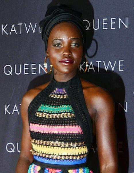 Lupita Nyong'o's makeup artist spills the details on her gold eyebrows at the Queen of Katwe premiere on October 5 in Johannesburg – get the look here
