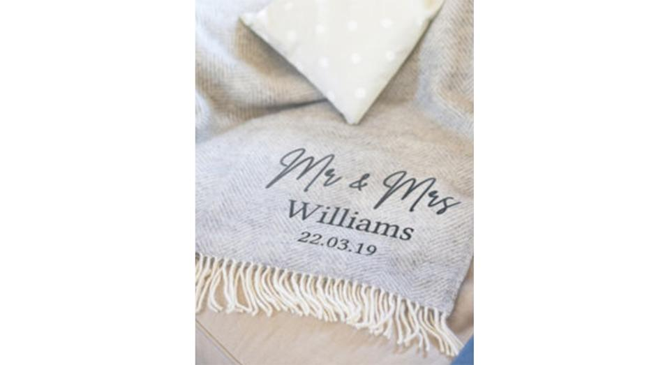 Personalised Couple's Wool Blanket (Not On The High Street)