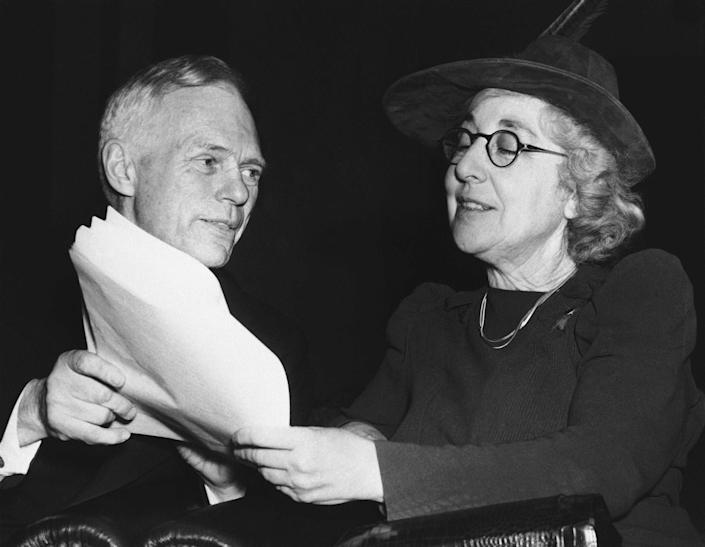 In this Feb. 2, 1940, photo, Jeannette Rankin, right, the nation's first woman to be elected to Congress, is seen with Frederick J. Libby at the House Naval Affairs Committee in Washington, D.C.
